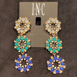 INC Gold, dark, light blues & turquoise earrings